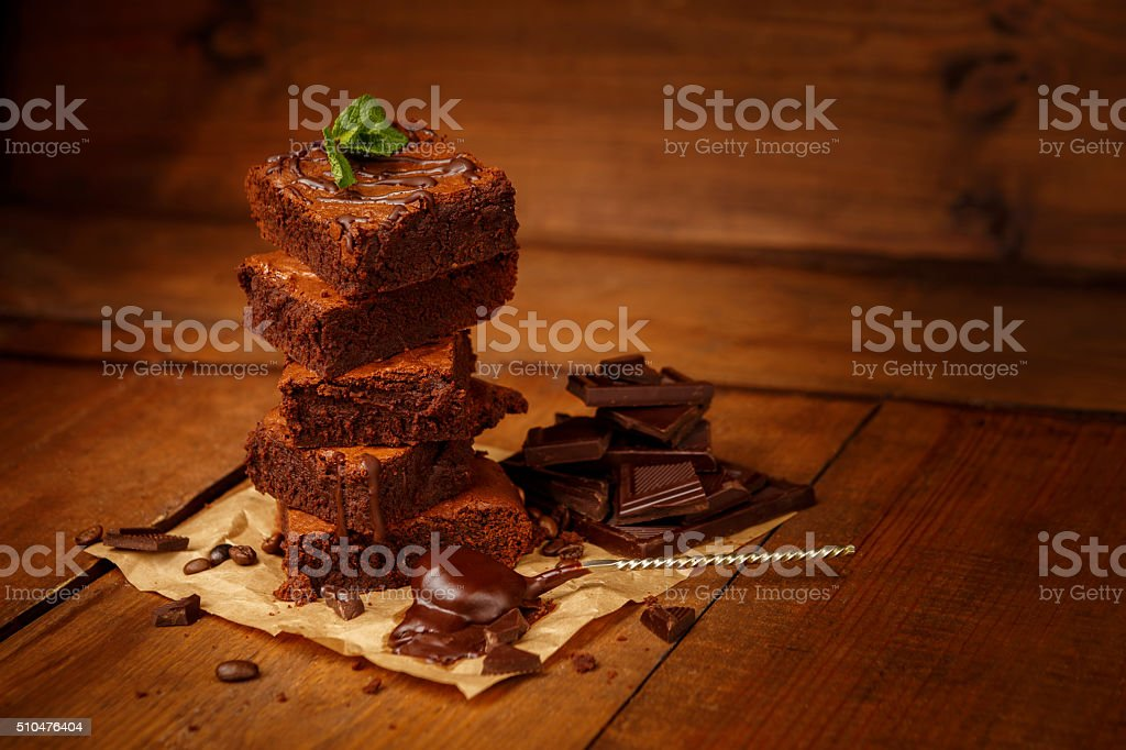 Plate with delicious chocolate brownies stock photo