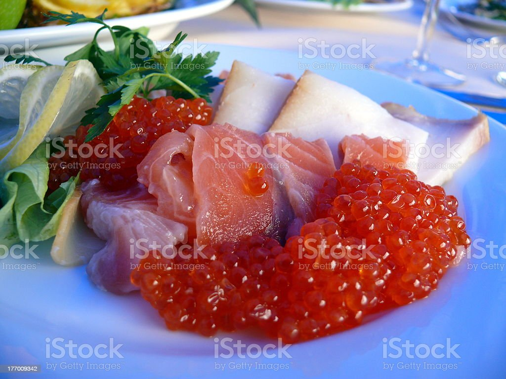 Plate with fresh seafood royalty-free stock photo