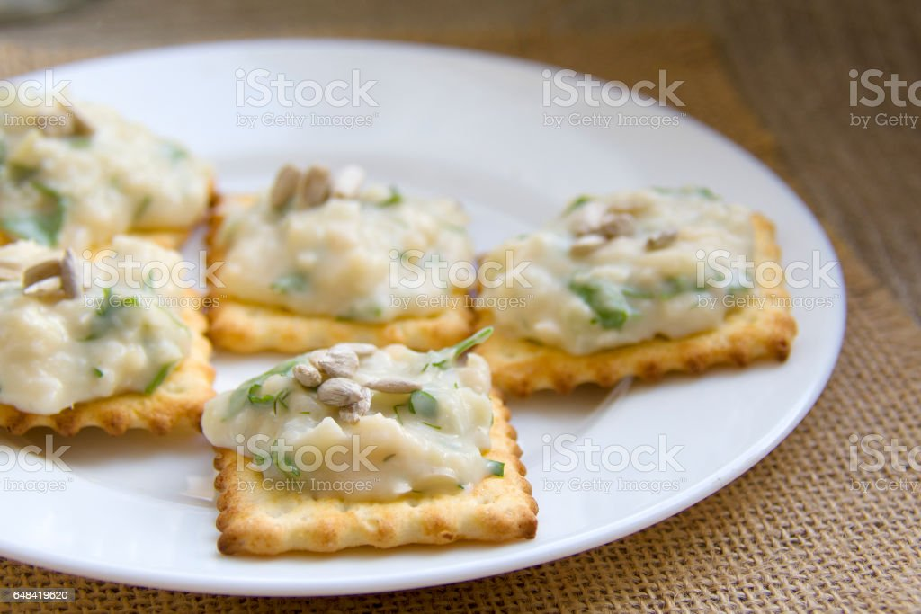 plate with frigole dip stock photo