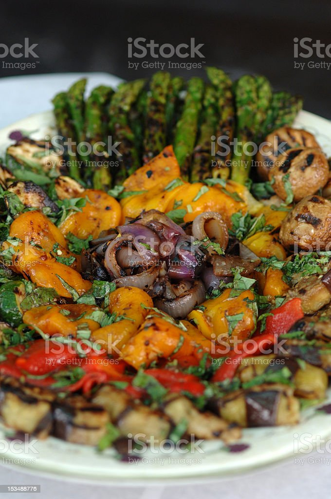 Plate with Grilled Vegetables stock photo
