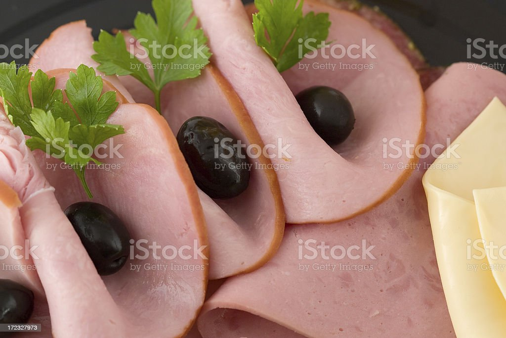 Plate with ham, cheese and eggs stock photo