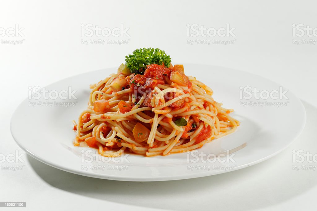 Plate with individual serving of spaghetti bolognese stock photo