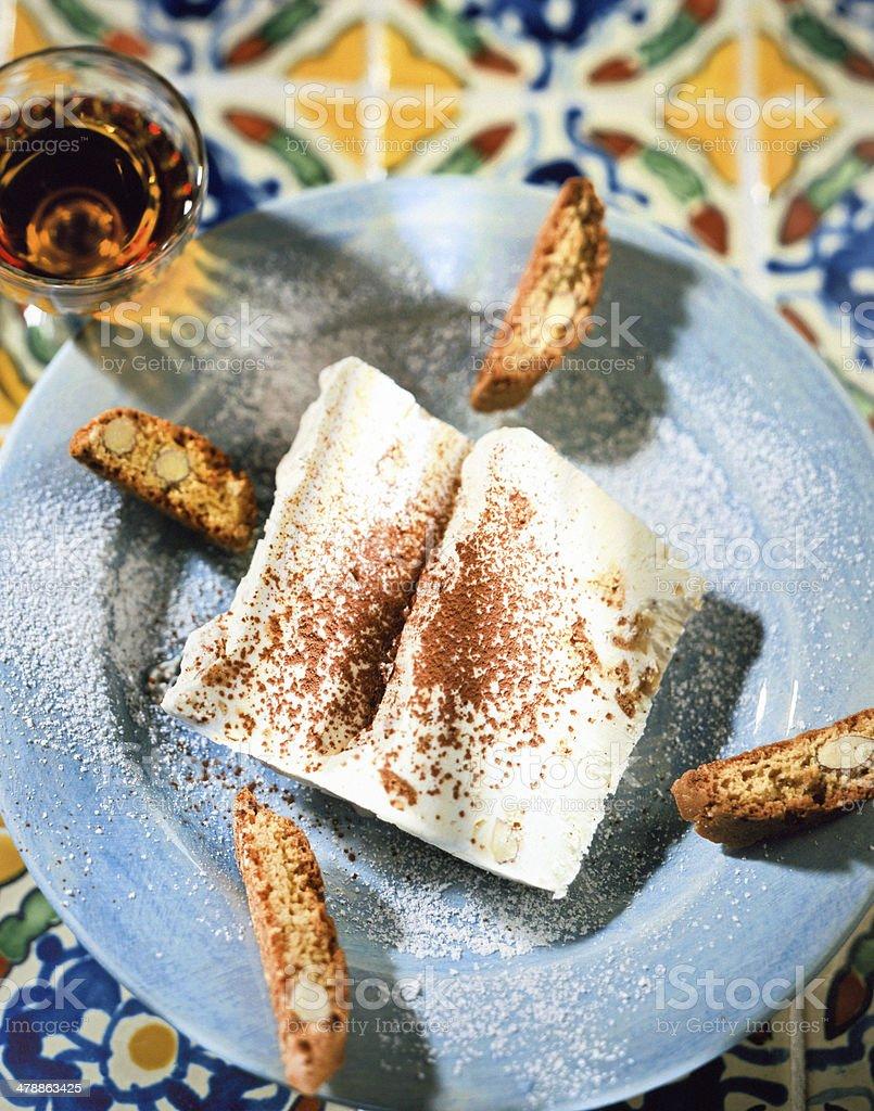 plate with Italian ice cream parfait, semifreddo stock photo