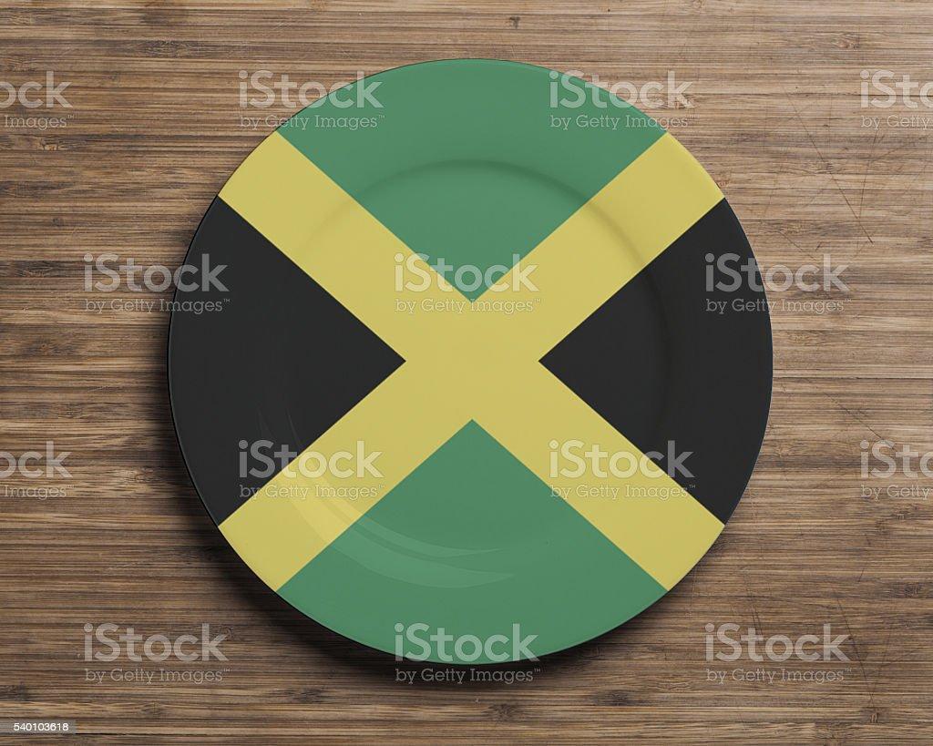 Plate with Jamaica flag overlay stock photo