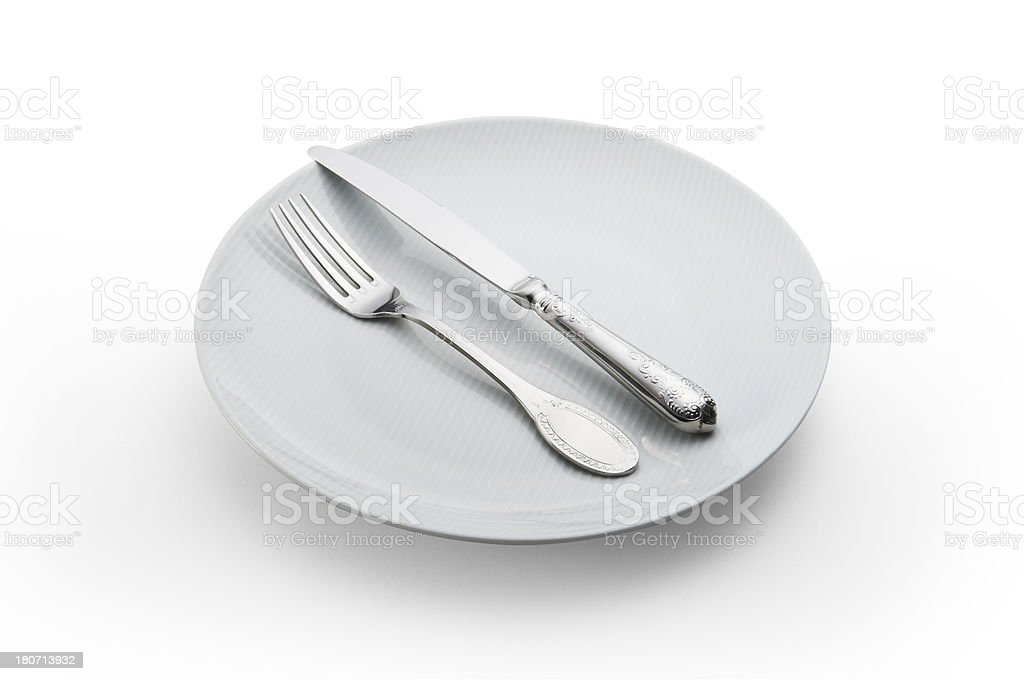 plate with Knife and Fork royalty-free stock photo