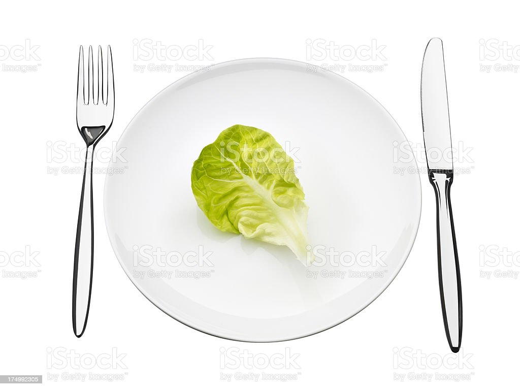 plate with lettuce stock photo