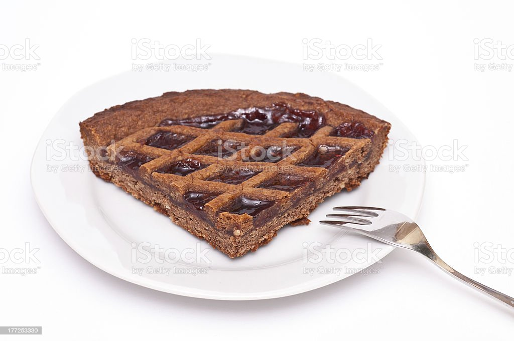Plate with linzer torte stock photo