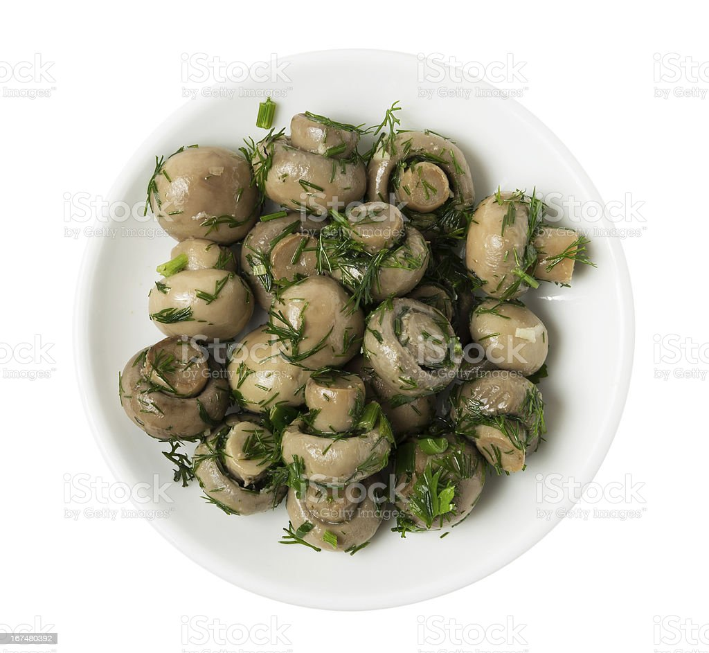 Plate with marinated mushrooms royalty-free stock photo