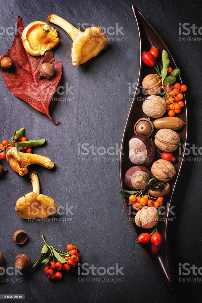 Plate with nuts and berries stock photo