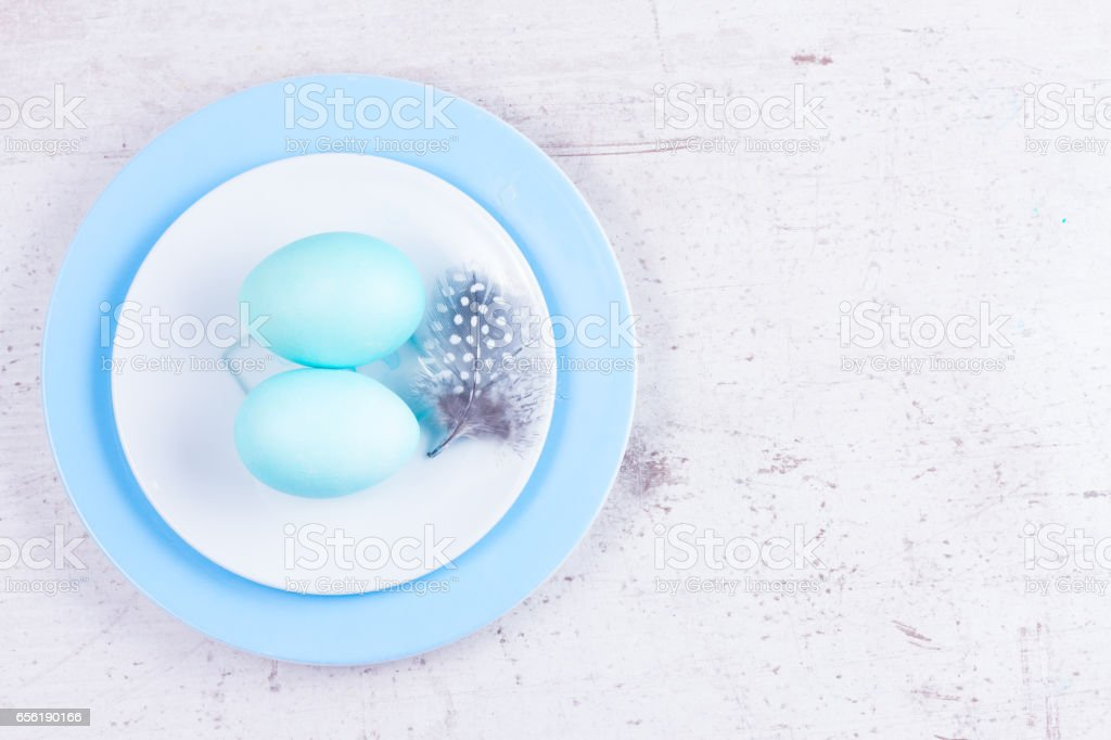 Plate with painted eggs stock photo