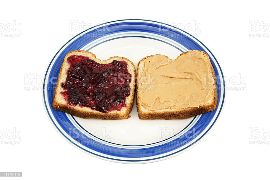 Plate with Peanut Butter and Jelly royalty-free stock photo