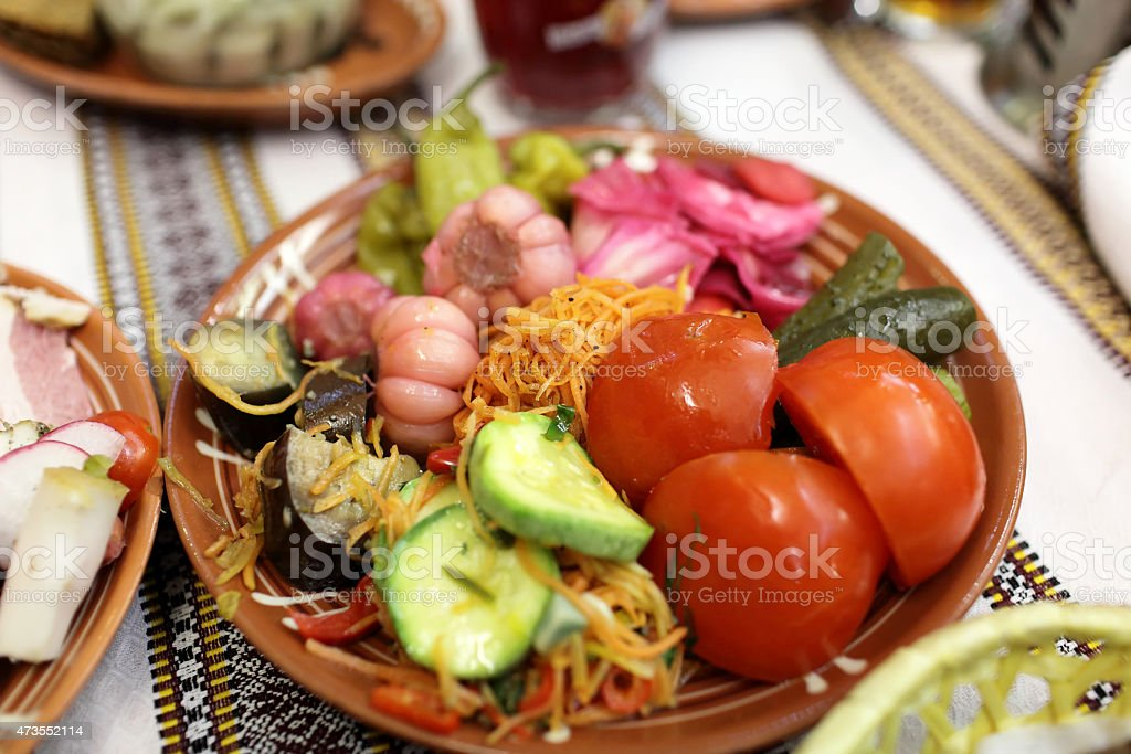 Plate with pickles stock photo