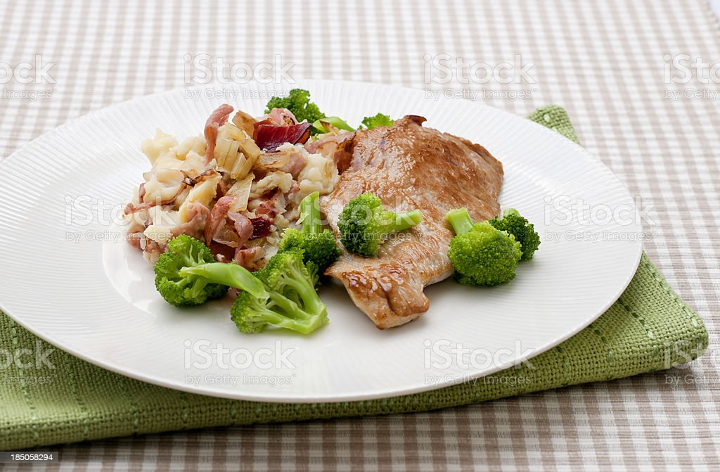 plate with pork cutlet broccoli and hash browns royalty-free stock photo