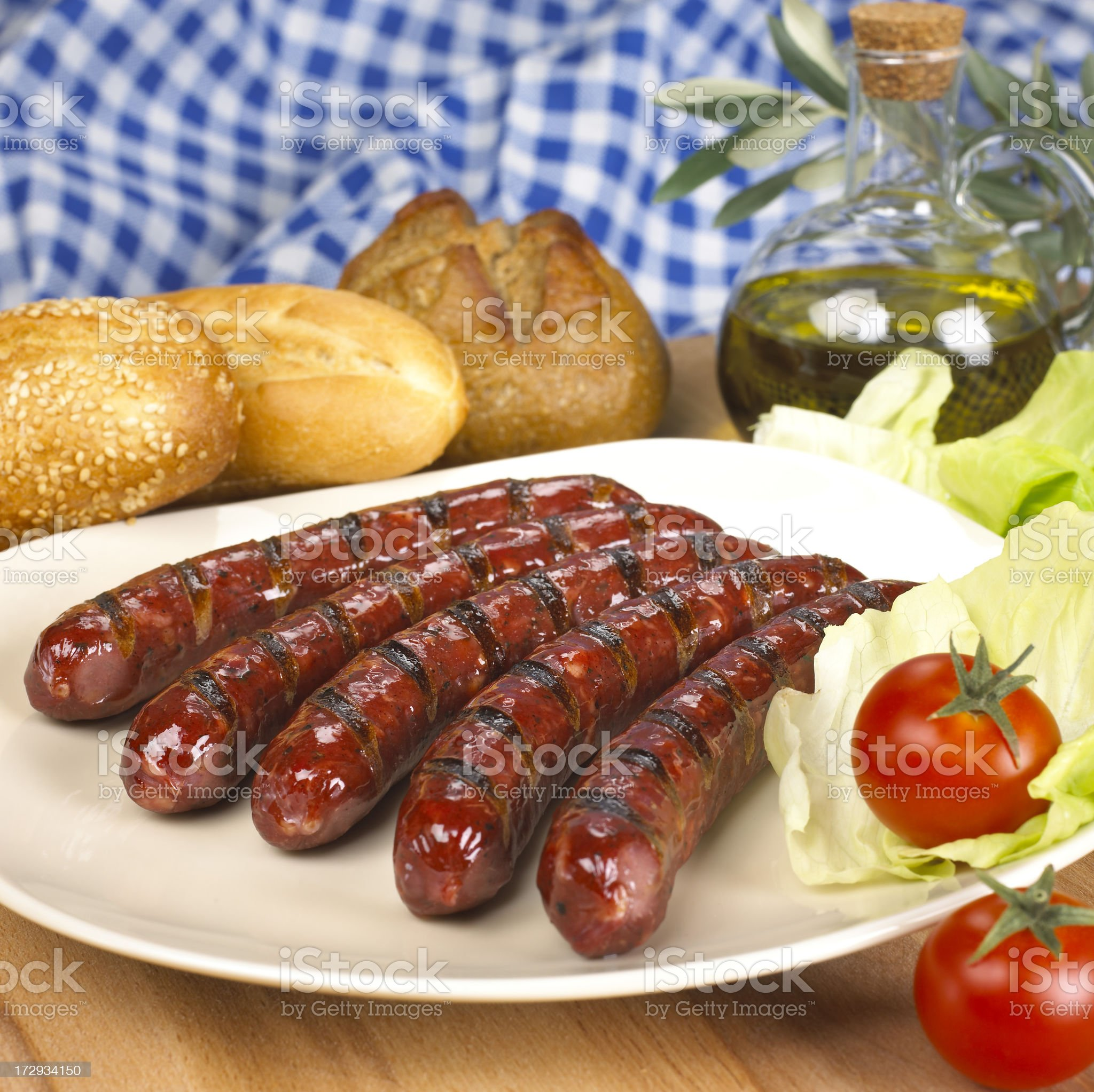 Plate with sausages royalty-free stock photo