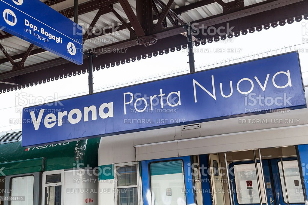 Plate with station name on Verona Porta Nuova stock photo