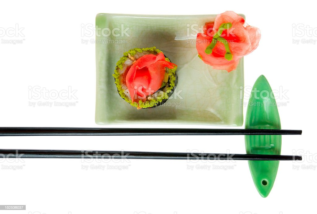 Plate with sushi on white background royalty-free stock photo