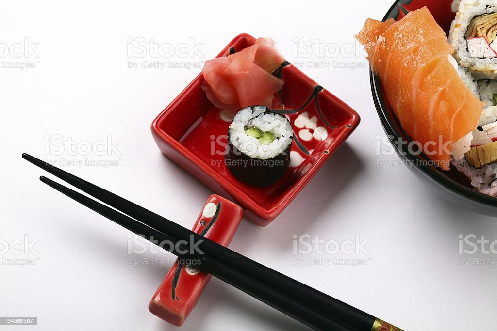 Plate with sushi royalty-free stock photo