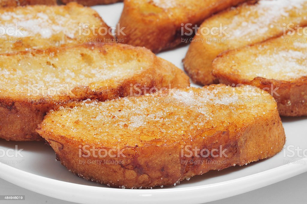 plate with torrijas stock photo
