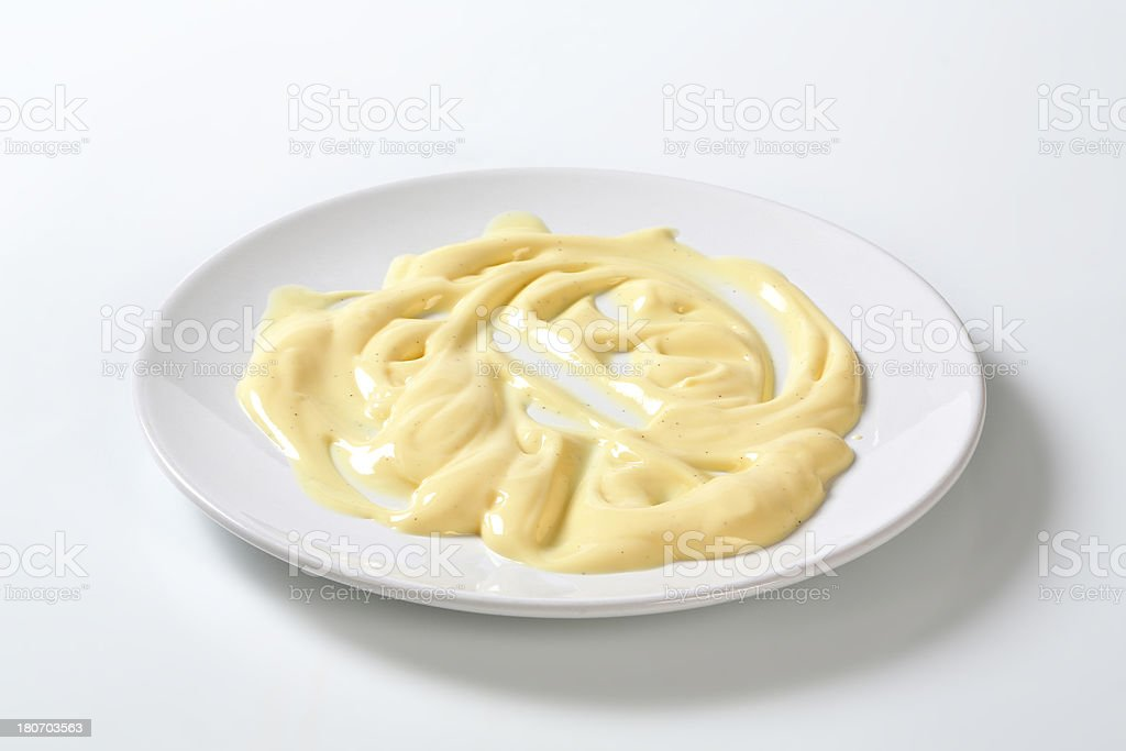 plate with vanilla cream stock photo