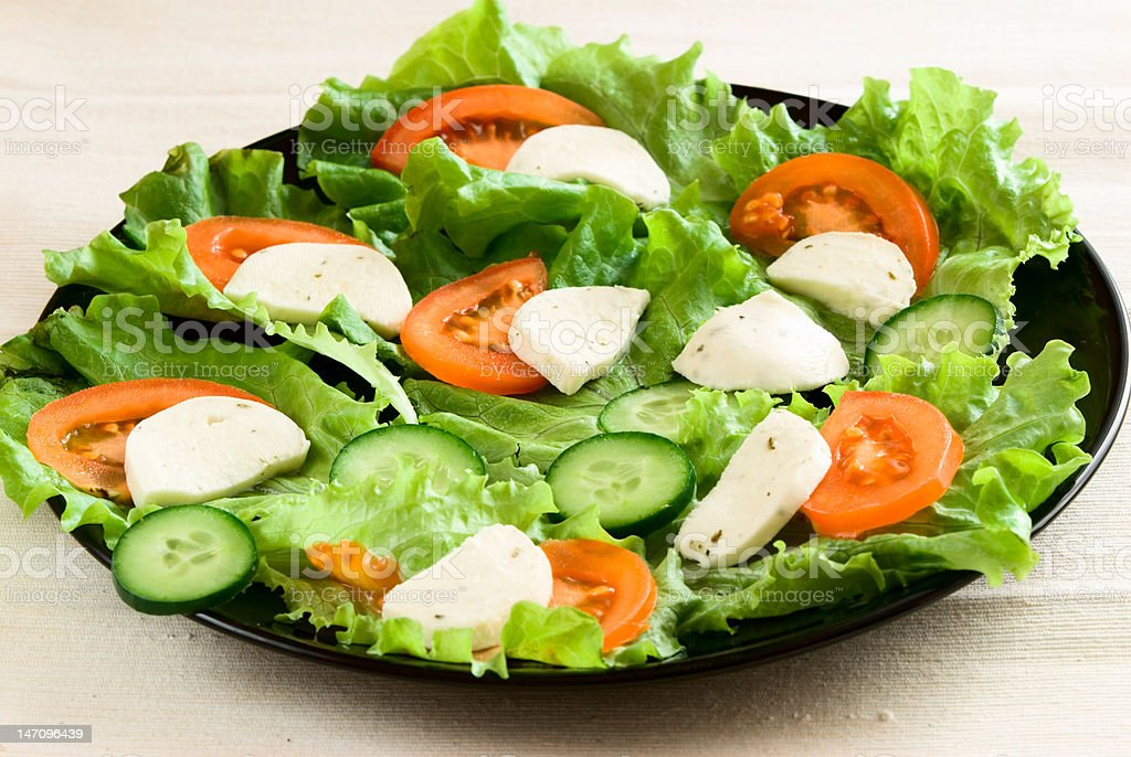 Plate with vegetables, cheese and egg royalty-free stock photo