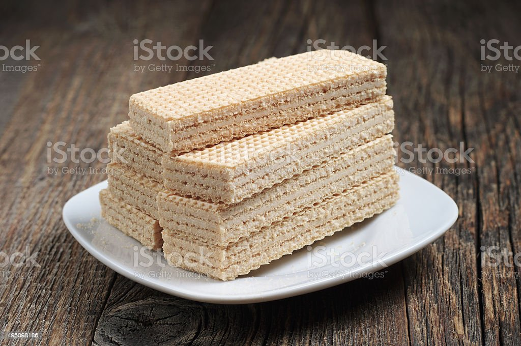 Plate with wafers stock photo