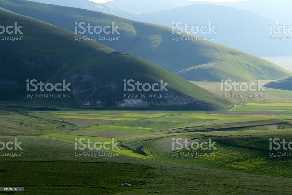 Plateau Castelluccio of Norcia, Umbria, Italy stock photo