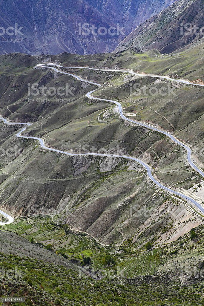 plateau highway, Tibet, China royalty-free stock photo