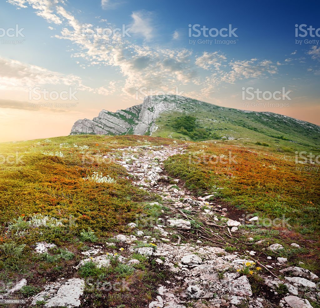 Plateau of a mountain stock photo