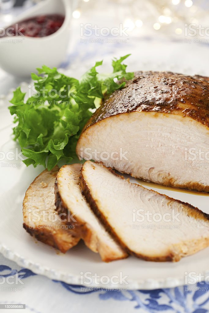 Plated turkey breast with cranberry sauce stock photo