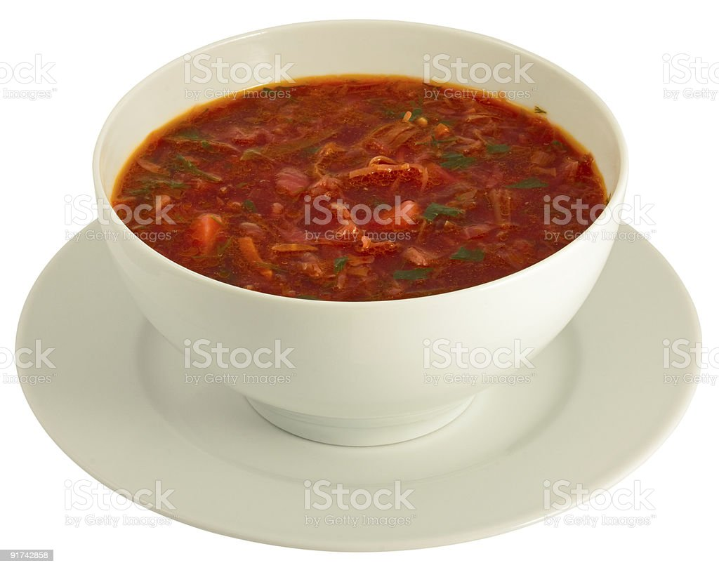 Plateful of borscht isolated on white royalty-free stock photo