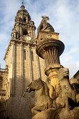 Platerias town square and fountain in Santiago de Compostela, Spain.