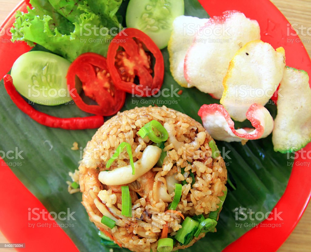 plates of Delicious fried rice- local flavor stock photo