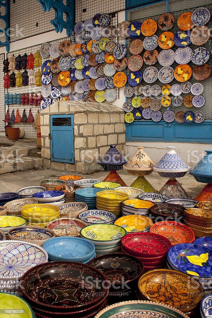 Plates on marketplace royalty-free stock photo