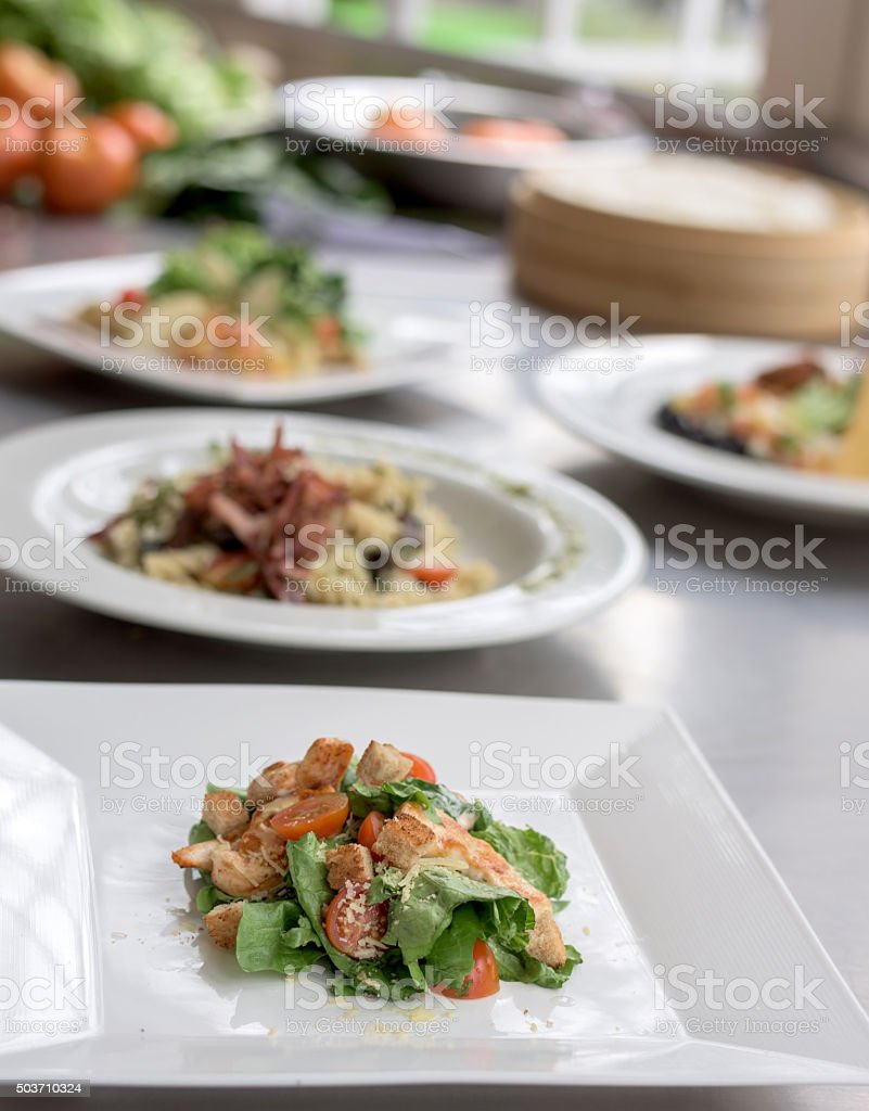 Plates served at a restaurant stock photo