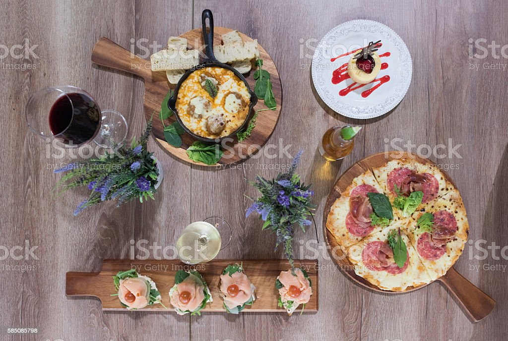 Plates served at an Italian restaurant stock photo