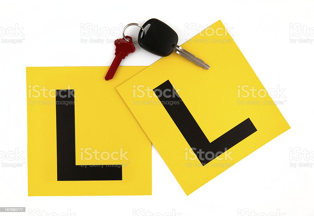 L Plates with Keys stock photo