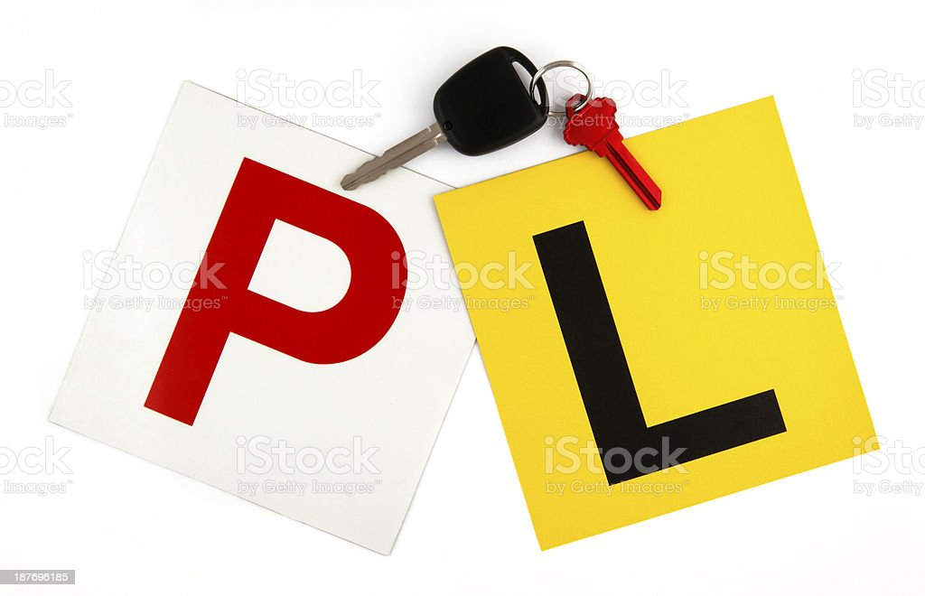 L & P Plates with Keys stock photo