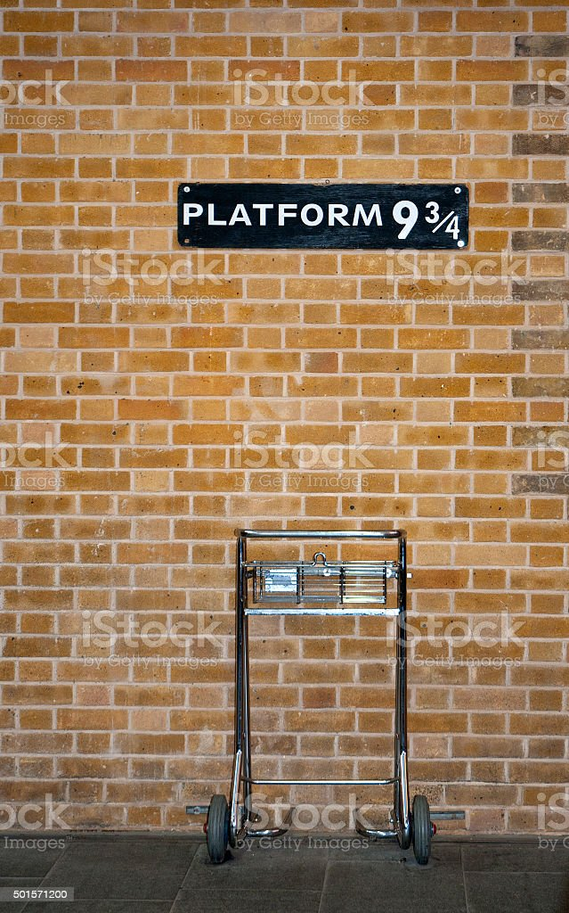 Platform 9 3/4 and Trolley stock photo