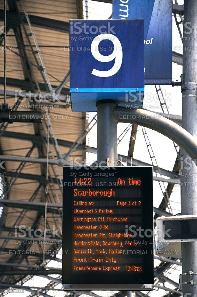 Platform 9 destination board, Lime Street Station. stock photo