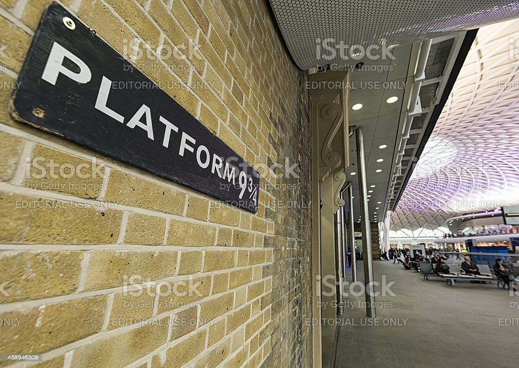 Platform Nine and Three Quarters at King's Cross Station stock photo