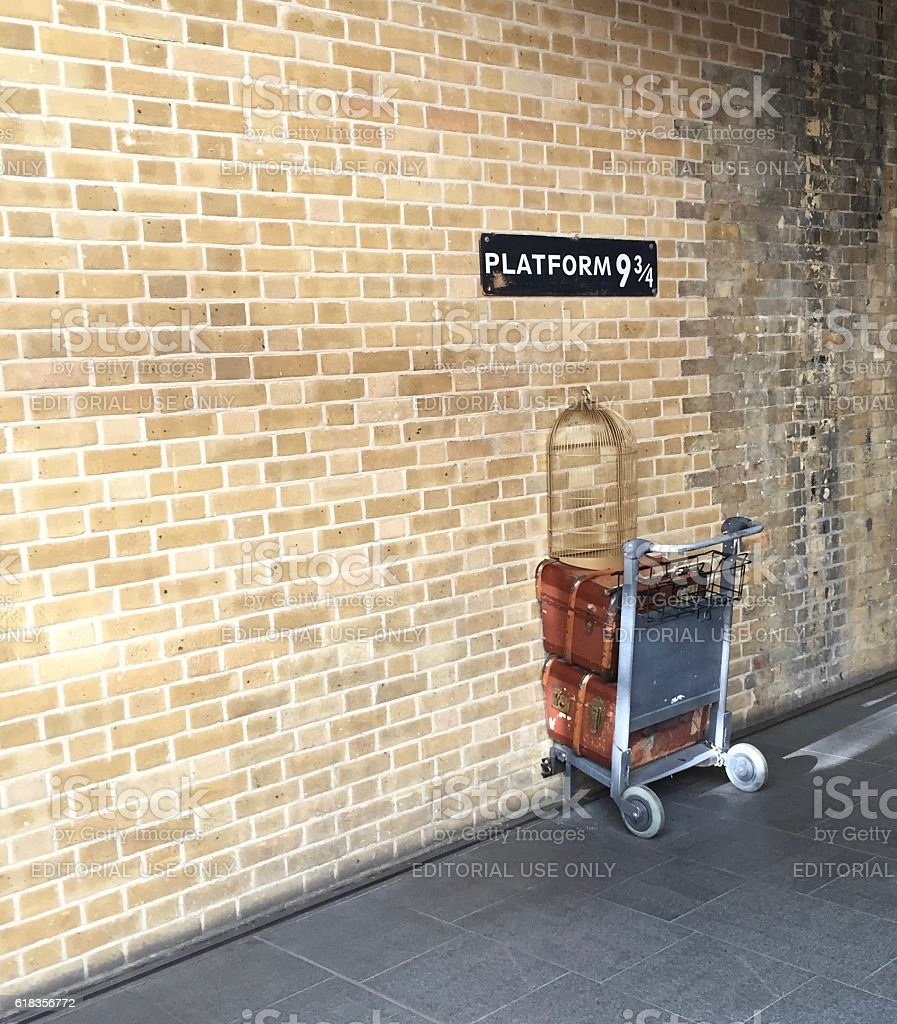 Platform nine and three-quarters at King's Cross station, London stock photo