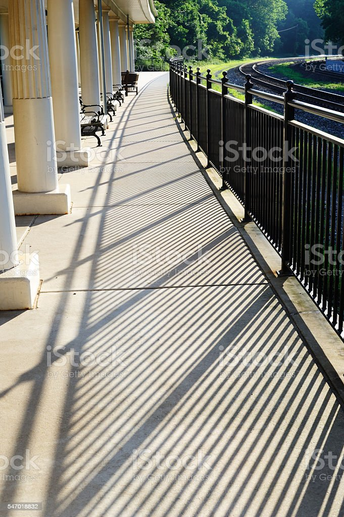 Platform of Train Station at Valley Forge stock photo