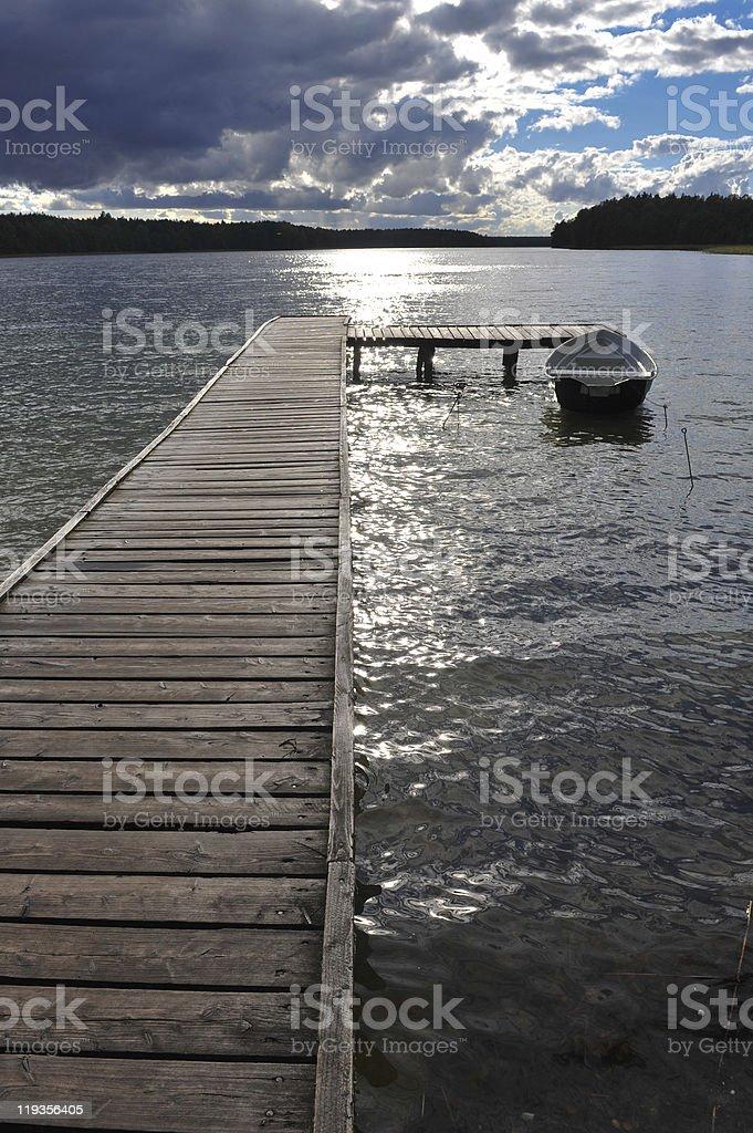 Platform on Mazurian lake area stock photo