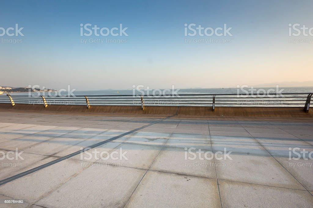 Platform with fence stock photo