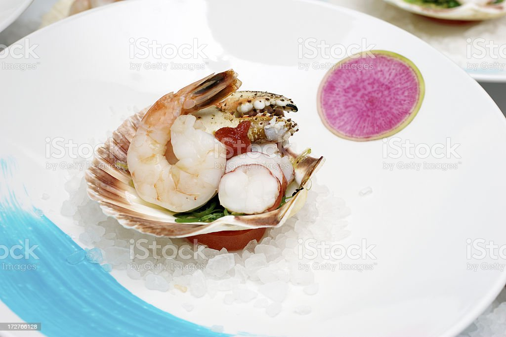 Plating Seafood Appetizer royalty-free stock photo