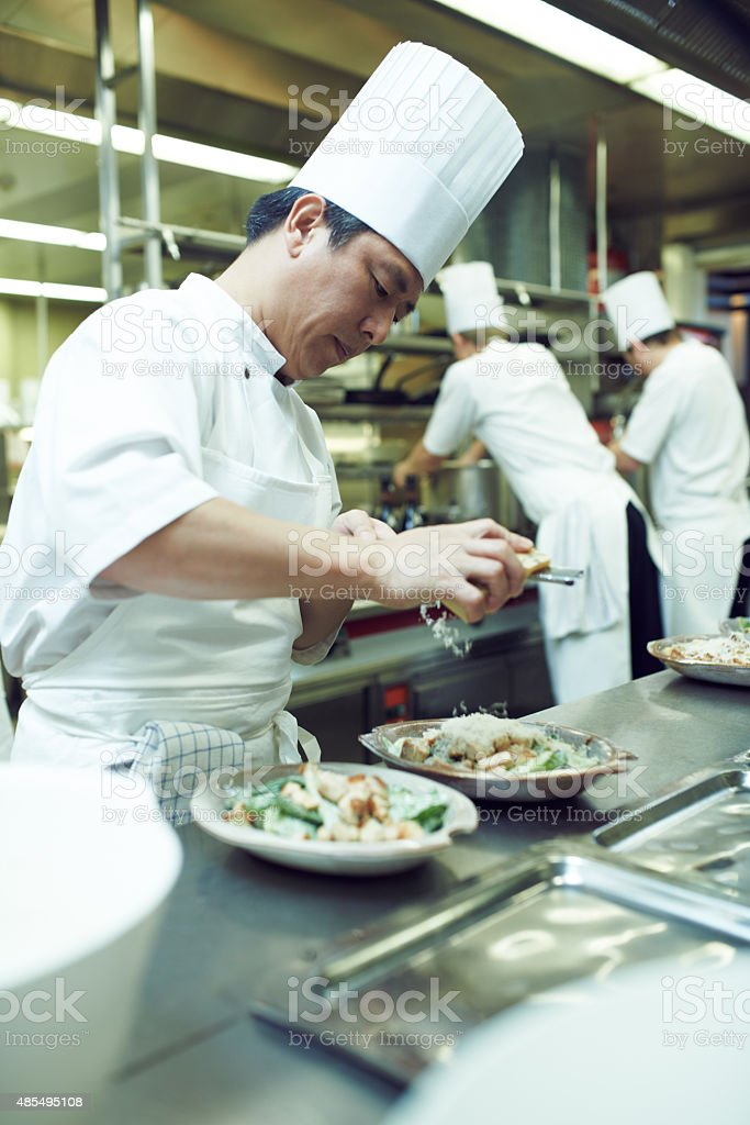 Plating up for service stock photo