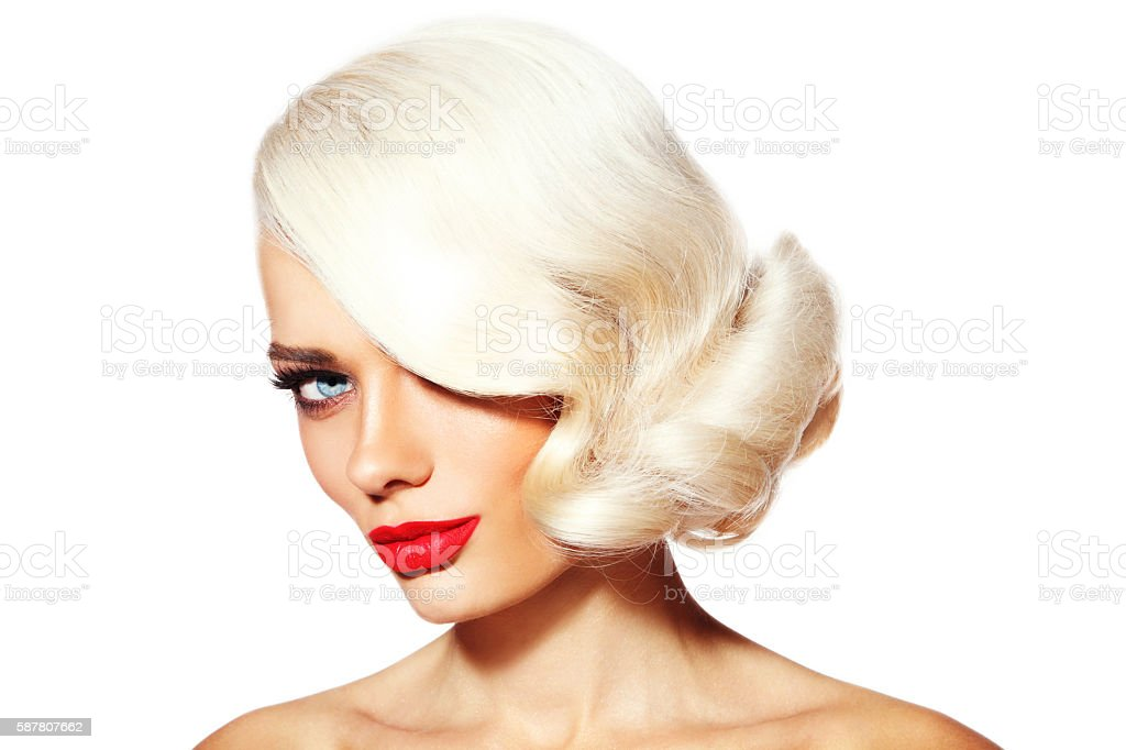 Platinum blonde beauty stock photo