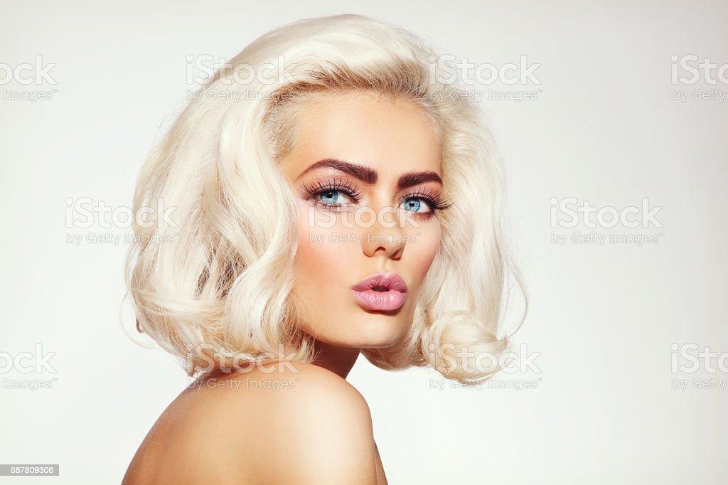 Platinum blonde stock photo