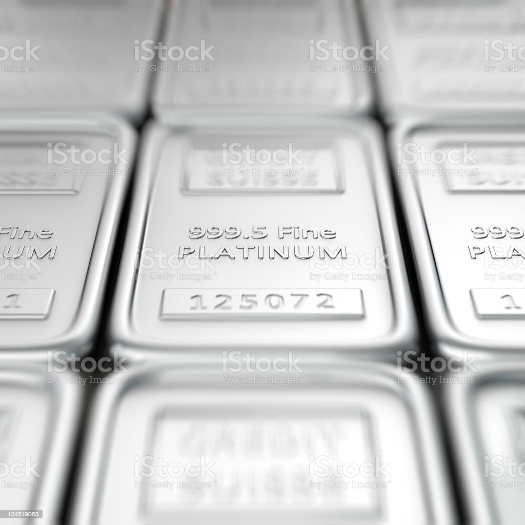 999 5 platinum ingots with serial numbers stock photo