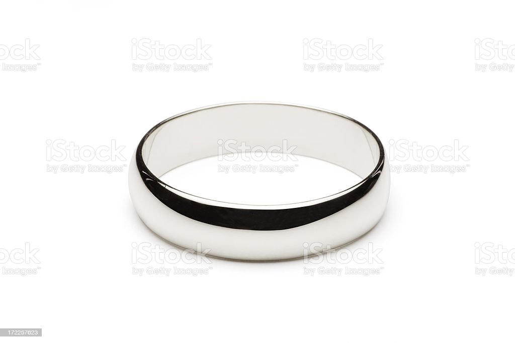 Platinum Wedding Ring Isolated on White (Clipping Path) stock photo